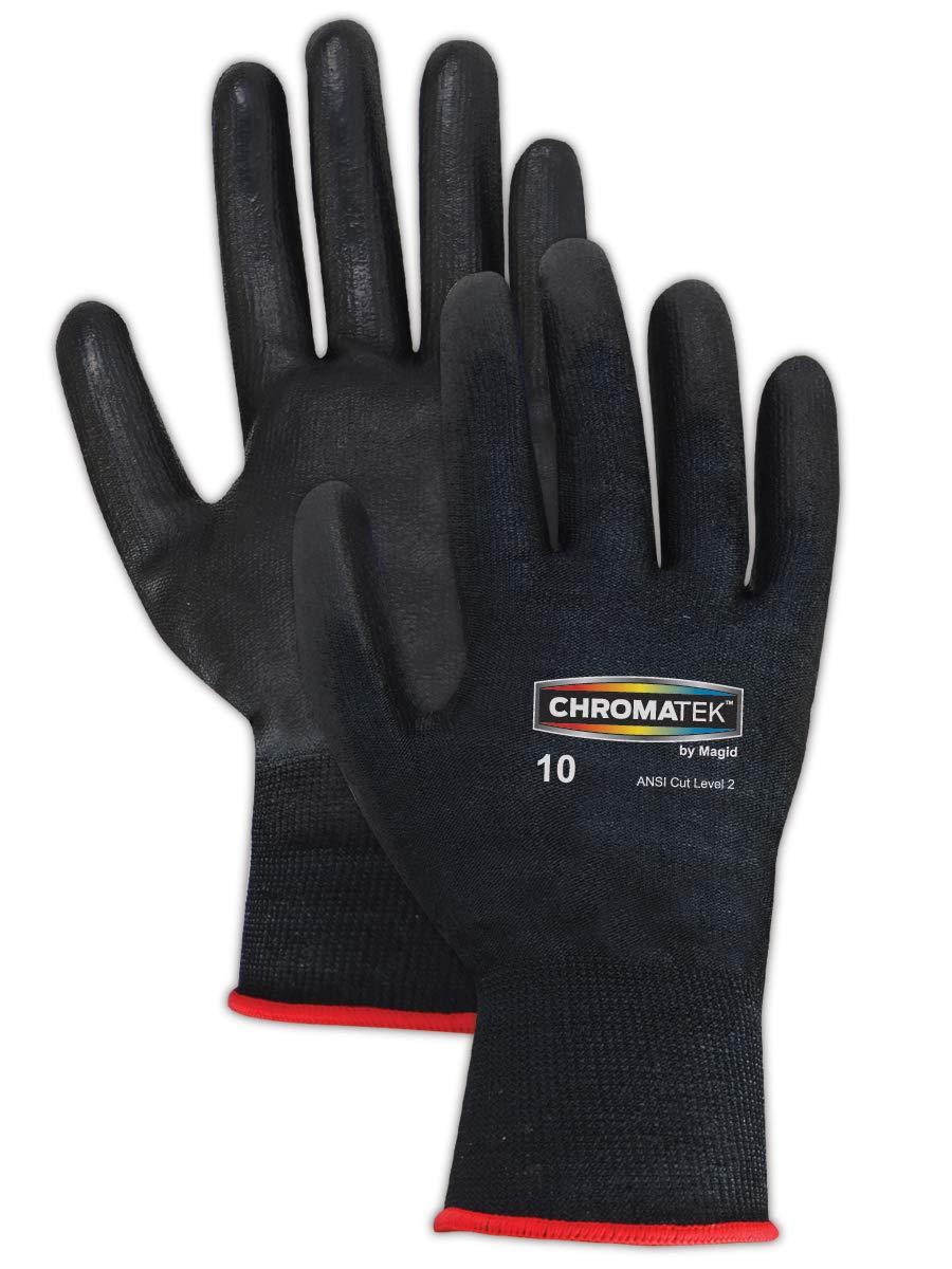 Magid Glove & Safety CT500-BK-12 Magid ChromaTek CT500 Multi-Colored HPPE Blend PU Palm Coated Gloves - Cut Level 2, Medium, Black, 12 (Pack of 12)