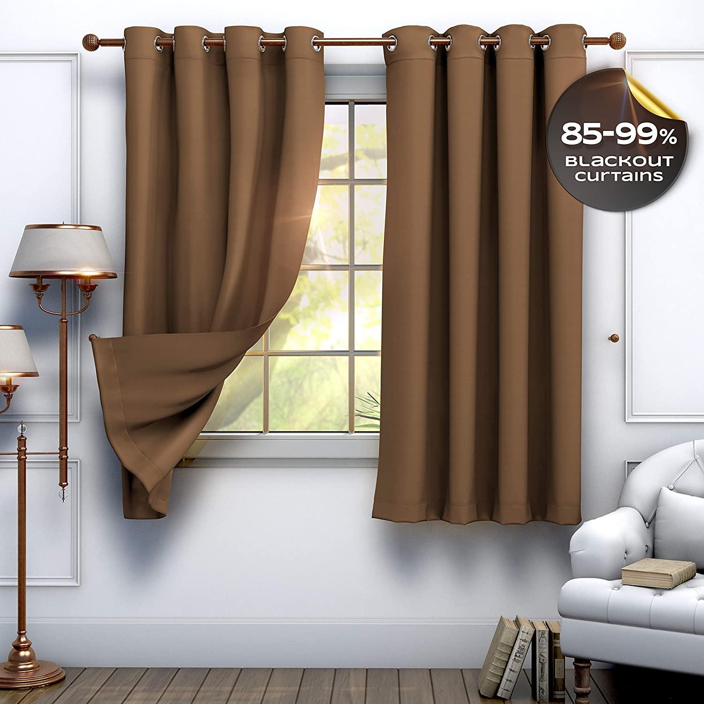 Tesorrio Curtains Blackout Chocolate or Brown - 63 inch, Bedroom Curtains Blackout Curtain Panels (52 by 63 Inches)