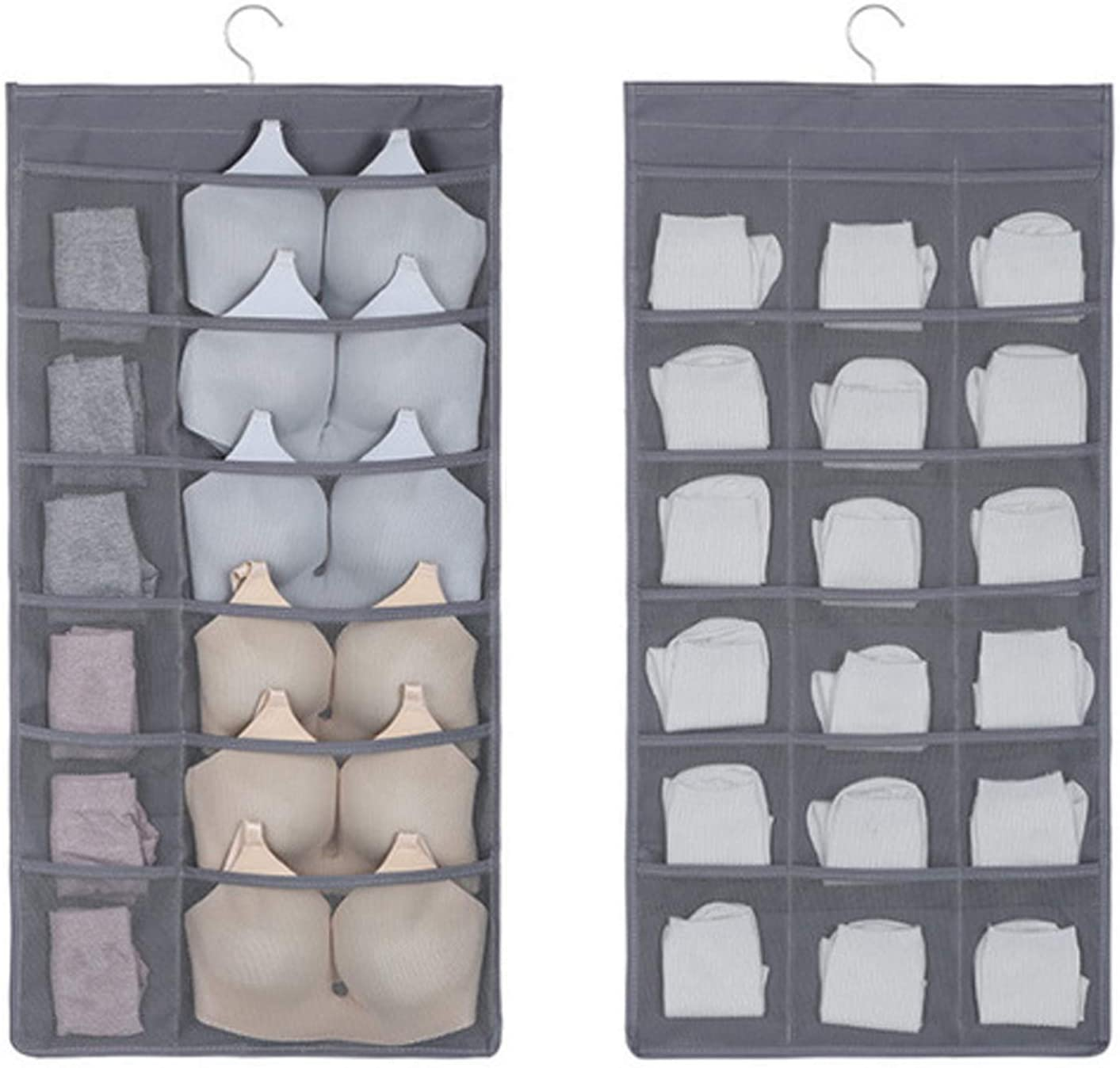 2-Pcs Dual-Sided Hanging Closet Organizer Wardrobe Bra Storage Bags with 30 Mesh Pockets Over The Closet Oxford Fabric Hanging Clothes Organizer Storage Bag for Underwear Stocking Bra Sock(Grey)
