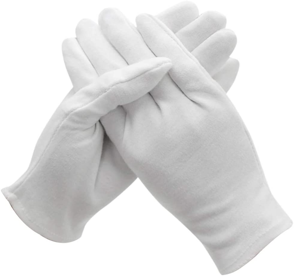 Minkissy 12 Pair White Gloves Cloth Serving Gloves Coin Collecting Gloves Soft Archival Gloves Touch Free Hand Protection Gloves for Women Men (Large) (Thickening)