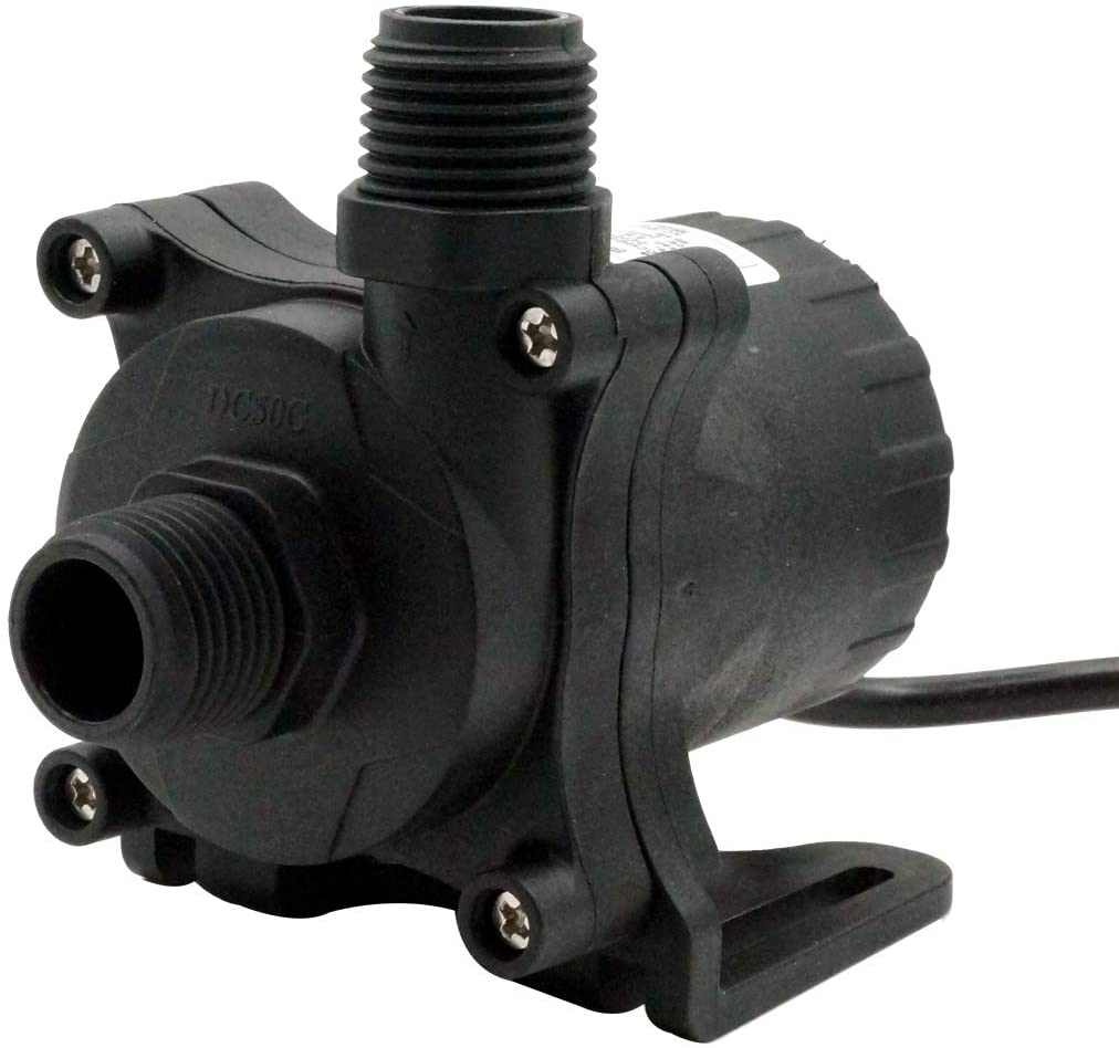 AUBIG 24V DC Water Pump 630GPH Inlet&Outlet 3/4 Inches 20mm NPT 60 Threads Static Head 26ft Power Regulation Brushless Submersible Pump Aquarium Garden Fountain Pump for Solar Panel DC50G-2480S