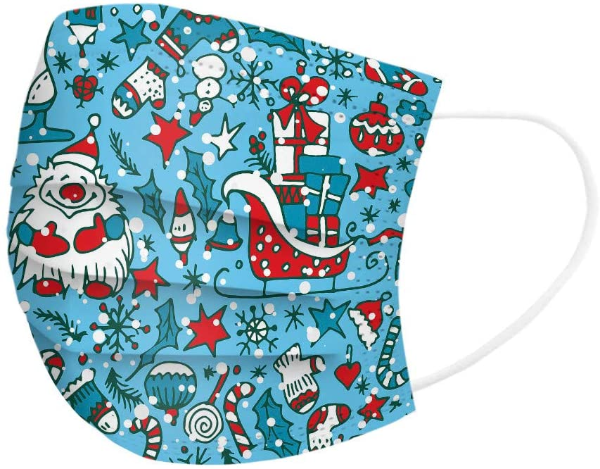 [50/100 Pack] Adult/Kids Christmas Printed Disposable Face Bandanas, 3-Ply Filter, Cloth Fabric Face Covering, Cute Protection for Mouth, Elastic Band & Adjustable Nose Clip, Dust Proof Breathable