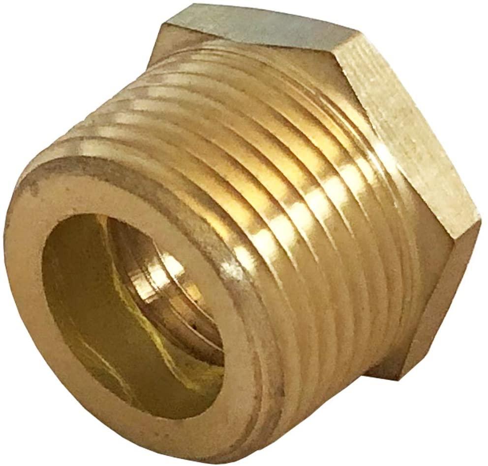 MissMin 1/2 NPS female to 3/4 NPT male adapter,Brass Reducing Hex Bushing