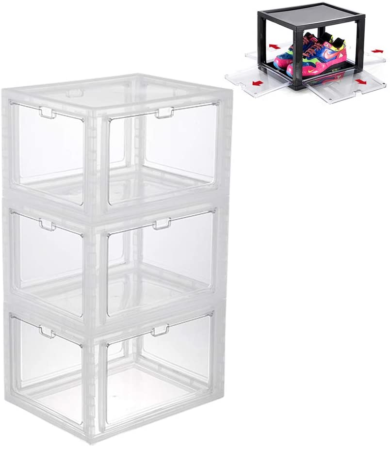 Shoe Box Organizer Stackable,Clear Plastic Shoe Storage Box 4 Sides Opening Sneaker Cases Heavy Duty Shoe Container Organizer for Closets Entryway Bedroom Garage,Fits Mens Size 13,Pack of (3)