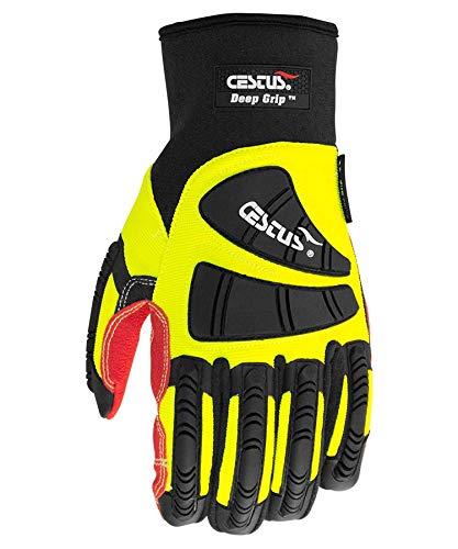 Cestus Pro Series Deep Grip Oil Resistant Impact Glove, Work, Cut Resistant, Medium, Green (Pack of 1 Pair)