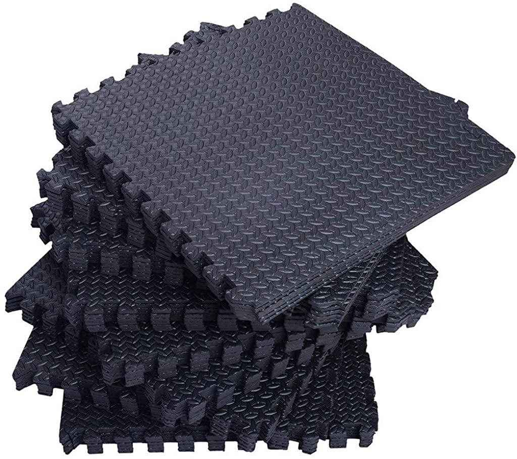Fainosmny 96 SqFt Interlace Puzzle Rubber Foam Gym Fitness Exercise Tile Floor Mat New Black