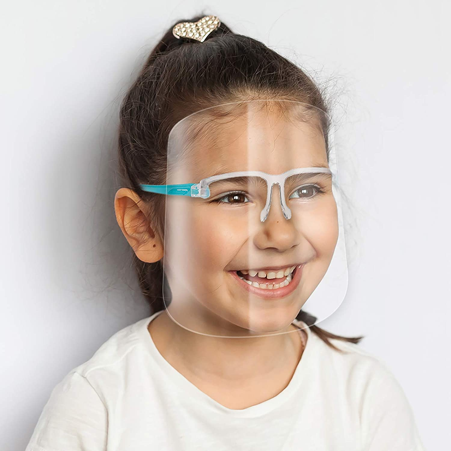ArtToFrames Protective Kids Face Shield 2 Pack, Fully Transparent Face and Eye Protection from Droplets and Saliva with ReusableBlue Glasses and Replaceable Shield, Anti-Fog PPE