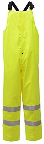 Class E Standard Hi Vis Waterproof Bib for Men (L/X-Large, Lime)