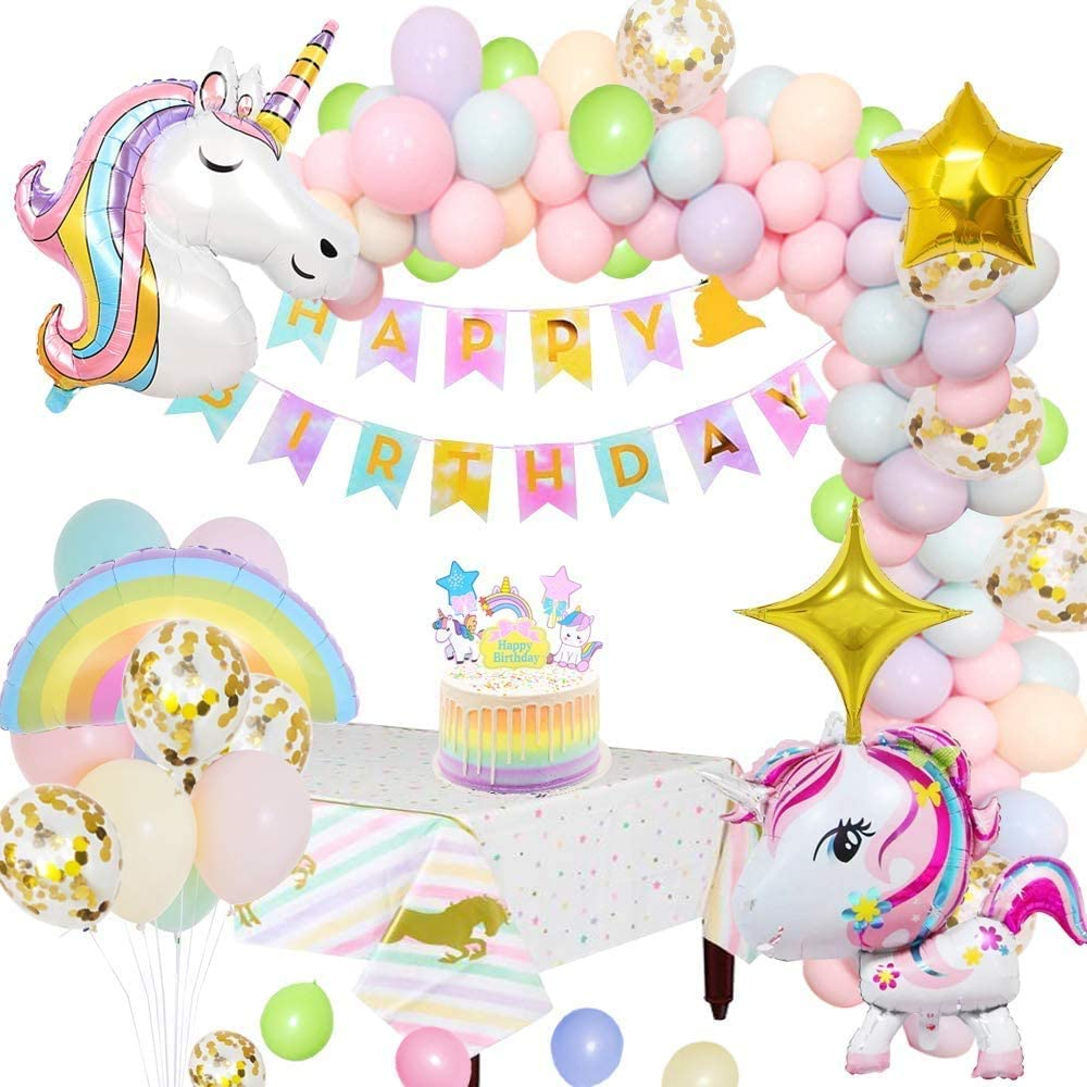 Unicorn Party Decorations Supplies, Huge 3D Unicorn Balloons Happy Birthday Banner Rainbow Balloon Star Balloon Tablecloth Cake Topper and Latex Party Ballons for Infant Girl Boy Lady Birthday