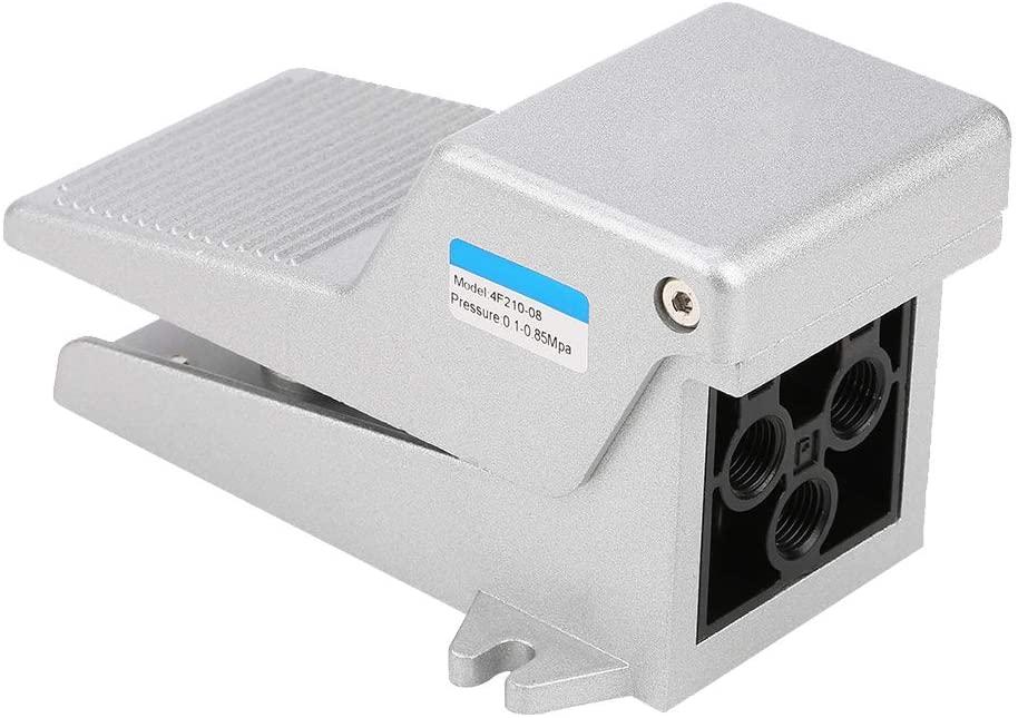 4F210-08 G1/4 Pneumatic Foot Valve 5/2 Way Plunger Type Aluminum Alloy Straight-through Press Control