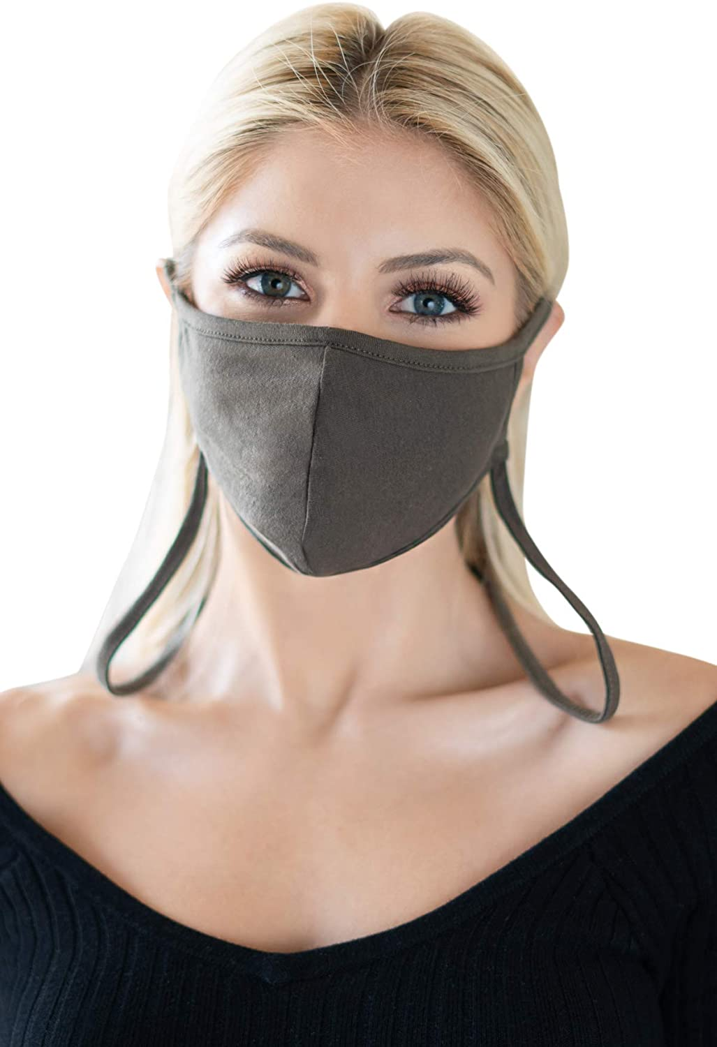 Reusable Fabric Face Mask Covering with Filter Insert Pocket Unisex - Washable Breathable Print Cloth Mouth Shield Protection Comfy Men Women (Adjustable Neck Strap/Arched - Olive)