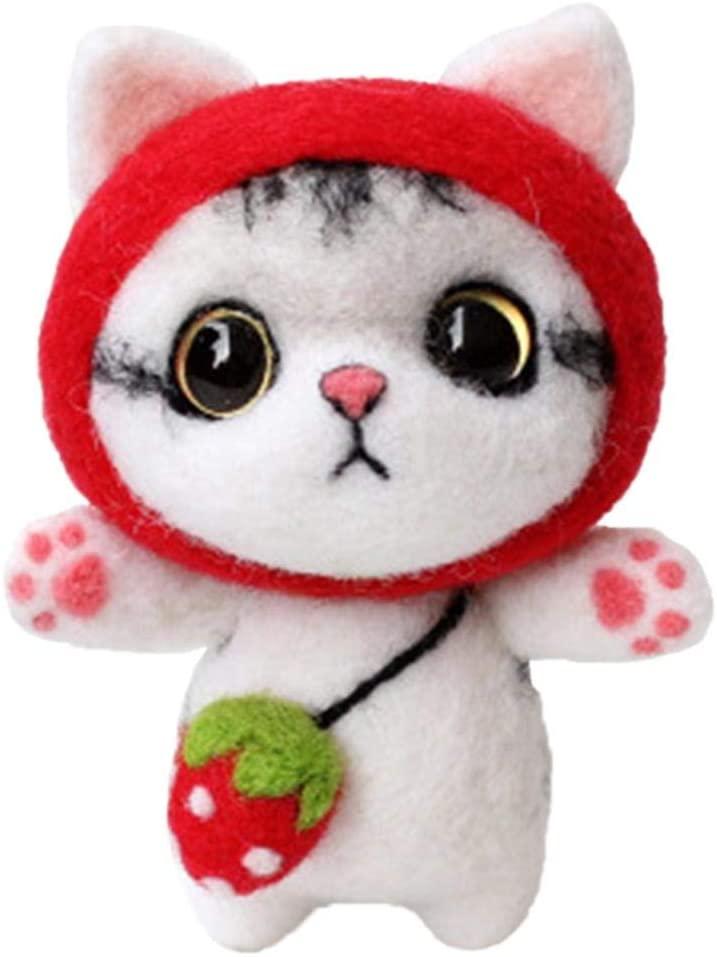 Needle Felting Start Kit Wool Felt Set Wool Felt Kit Strawberry cat Wool Fiber Beginners Handmade Handicraft Wool Felt Tools for DIY Craft Project Cute Animals Felt Doll Set