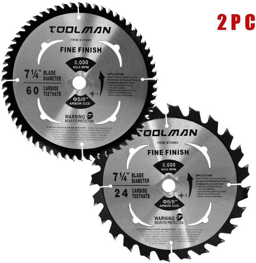 Toolman Premium Multifunctional Carbide-Tipped Circular Saw Blade Universal Fit 7-1/4
