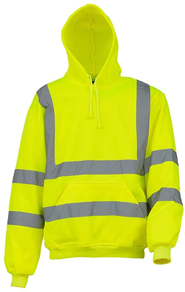 Zhuhaixmy High Visibility Long Sleeve Band Hoodies Breathable Soft and Comfortable Reflective Hooded Jacket Fluorescent Sweatshirt