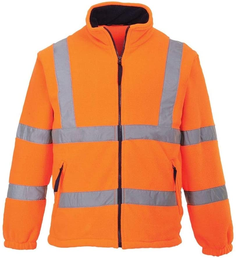 Brite Safety Hi Vis Mesh Lined Fleece Jacket - ANSI Class 3 Compliant High Visibility Jackets (Orange,3XL)