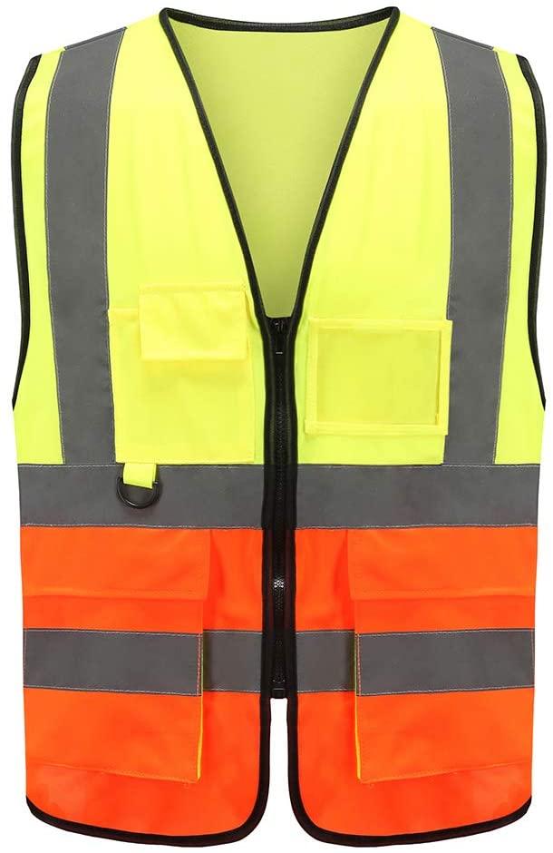 Reflective Safety Vest, A-SAFETY, Hi Vis 9 Pockets High Visibility Zipper Front Safety Vest, Orange&Yellow Color Mixed, L