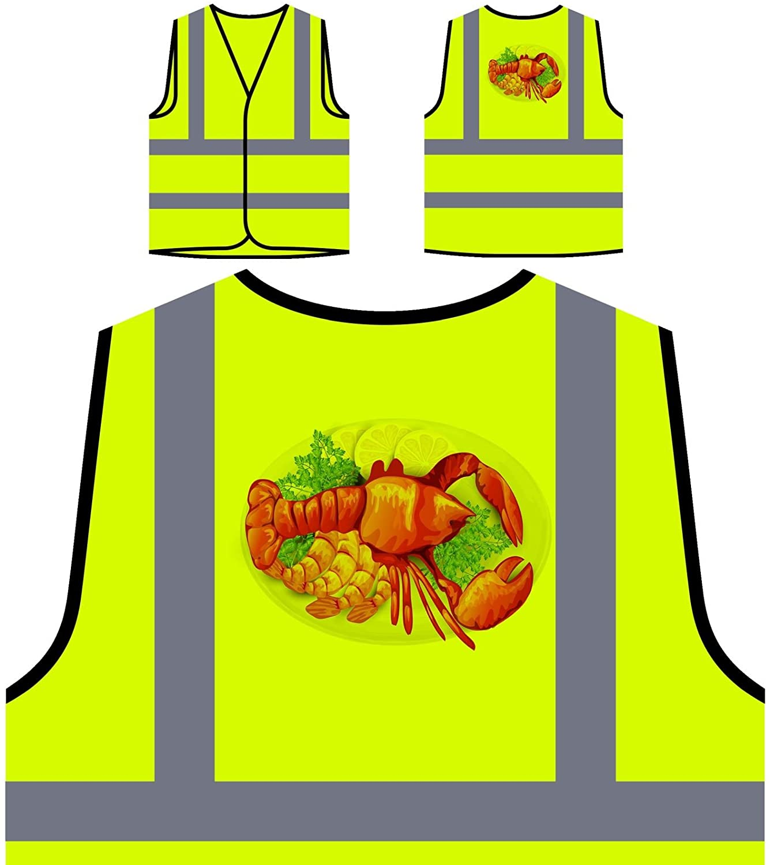 Lobster dinner seafood Personalized Hi Visibility Yellow Safety Jacket Vest Waistcoat v723v