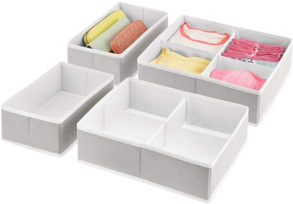 mDesign Soft Fabric Dresser Drawer and Closet Storage Organizer Bins for Bedroom Closet, Dresser Tops, Drawers - 4 Pieces, 10 Compartments - Textured Print - Light Gray/White