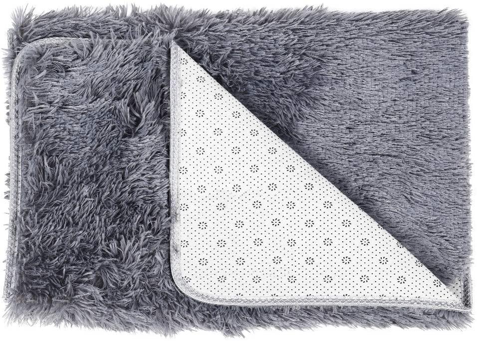 Fluffy Rug Indoor Area Carpet Ultra Soft and Comfy Suitable for Living Room Kids Room Bedroom Rectangle, Grey
