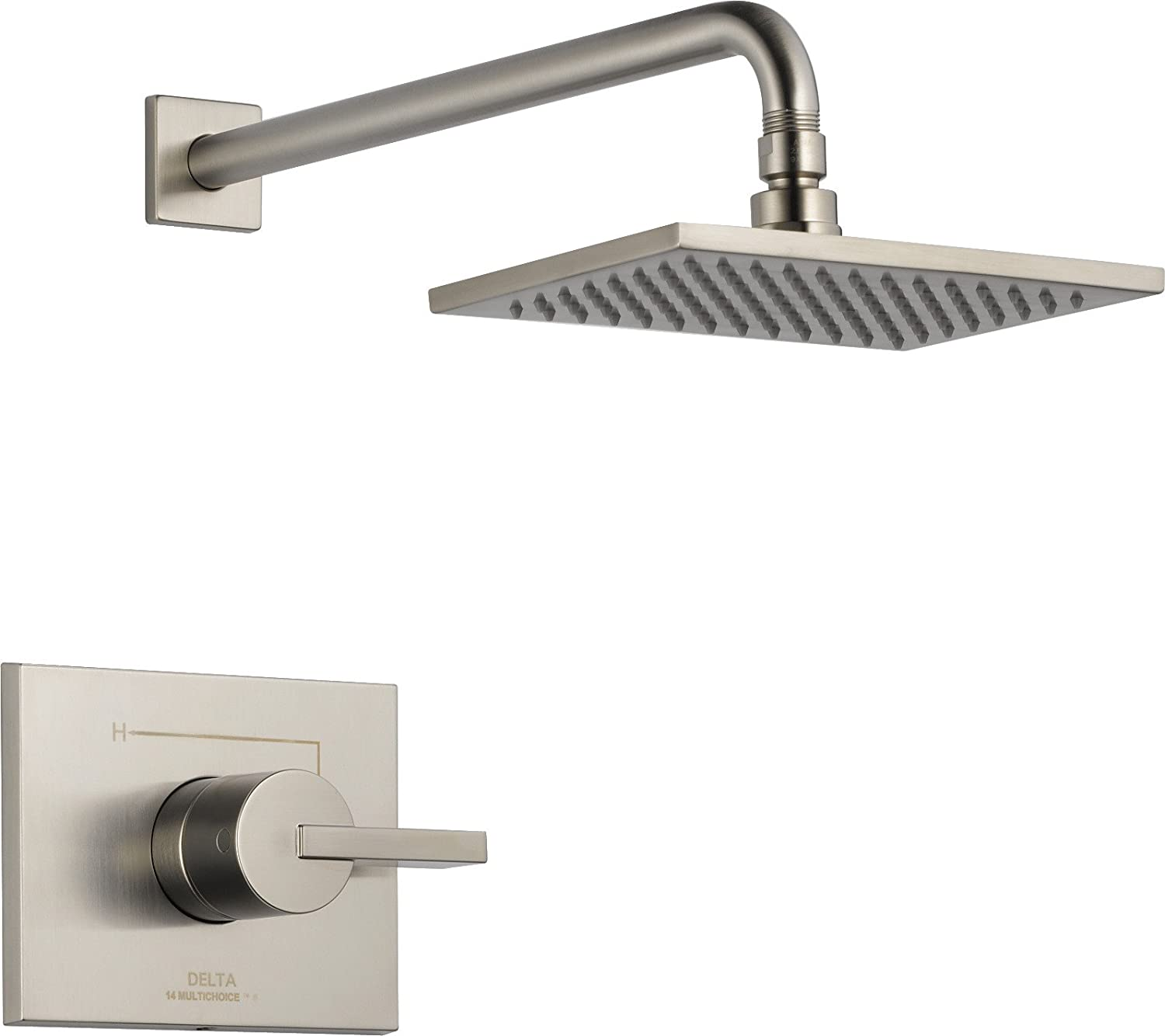 Delta Faucet Vero 14 Series Single-Function Shower Trim Kit with Single-Spray Touch-Clean Rain Shower Head, Stainless, 2.0 GPM Water Flow, T14253-SS-WE (Valve Not Included)