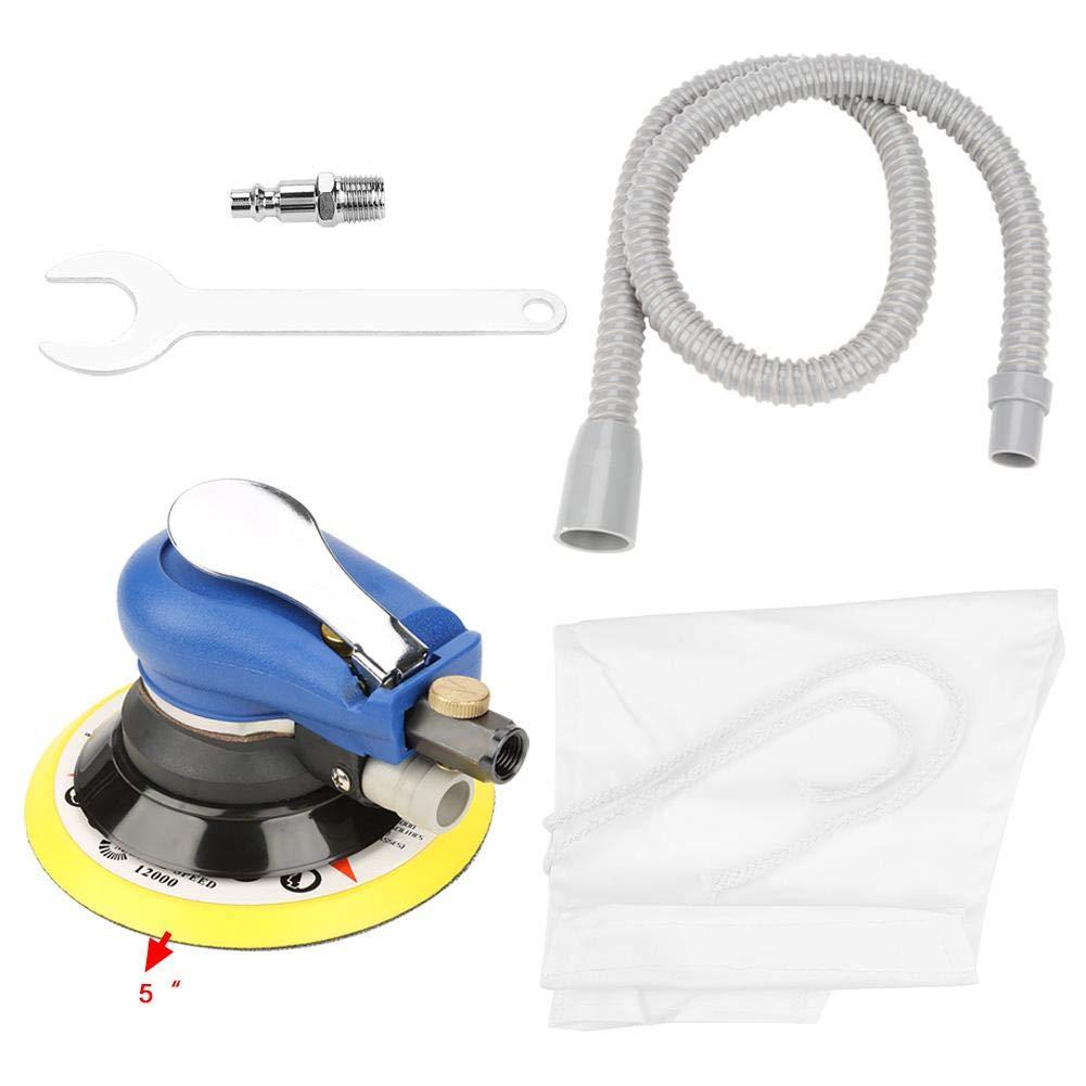 Air Sander Round Sander Vacuum Cleaner Pneumatic Polishing Machine Air Random Orbital Sander with Vacuum Pipe and Storage Bag (5 Inches)