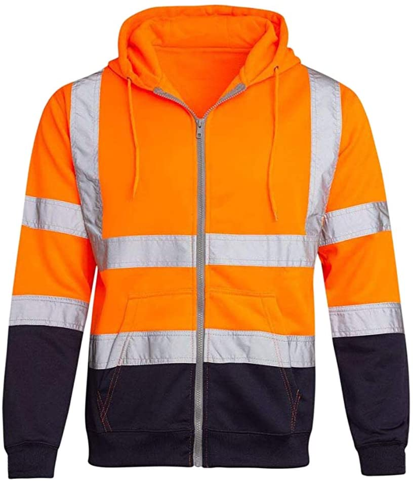 Meijunter High Visibility Reflective Band Hoodies - Men's Two Tone Zipper Hooded Hoody Sweatshirt Jacket Top