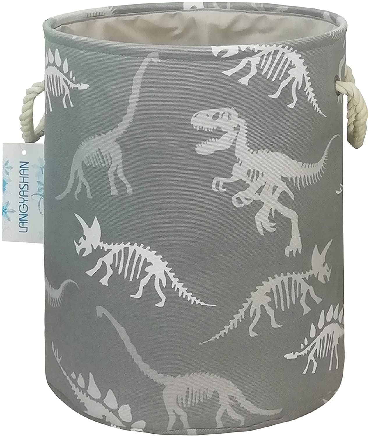 LANGYASHAN Storage Bin, Cotton Collapsible Organizer Basket for Girls Laundry Hamper,Toy Bins,Gift Baskets, Bedroom, Clothes,Baby Nursery (Gray Dinosaur Skeleton)