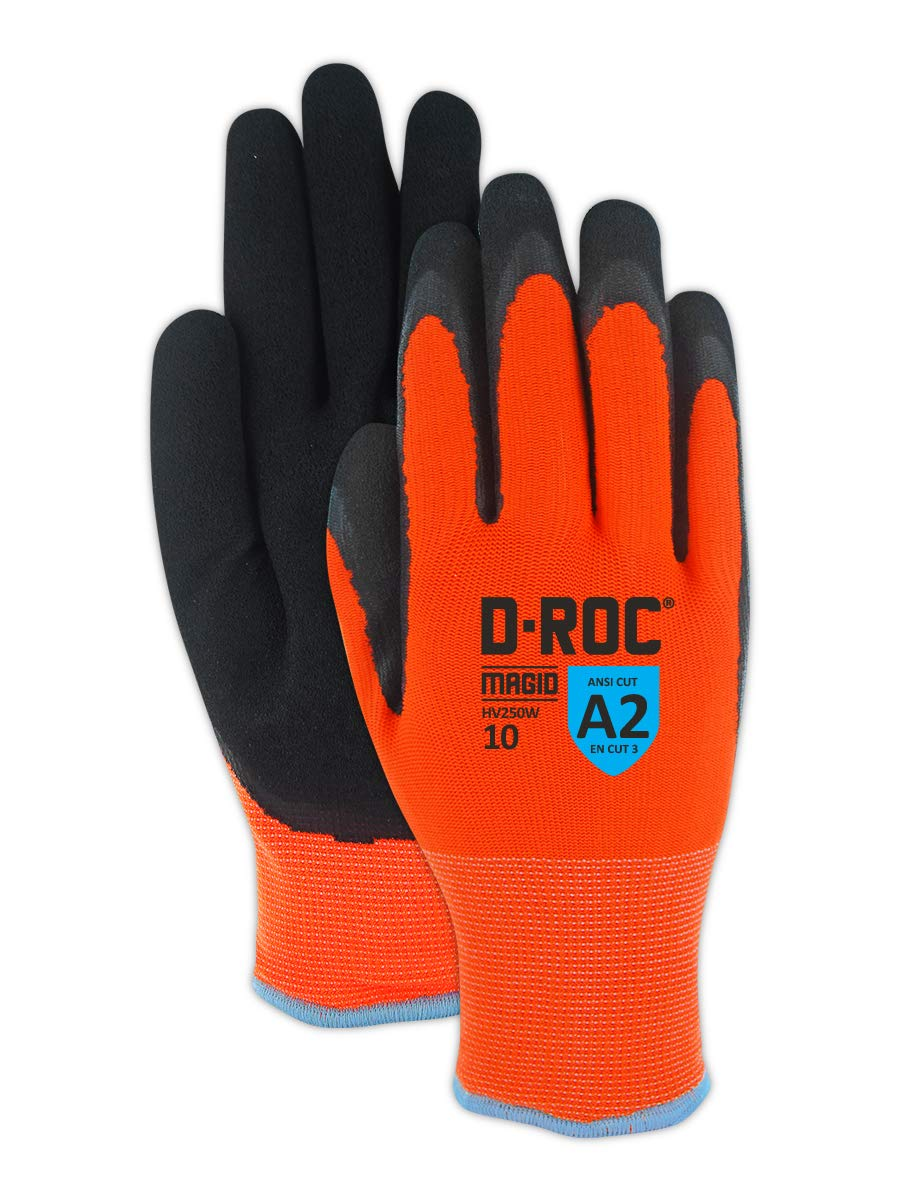 Magid Glove & Safety HV250W12 Waterproof Thermal Coated Work Gloves, 12/3X-Large, Black/Hi-Viz Orange