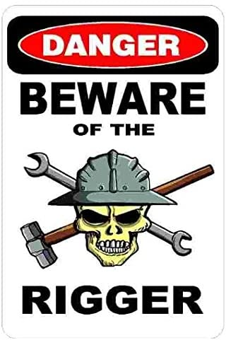 Large 5'' Sticker - Danger Beware of The Rigger Hard Hat Stickers - Construction Toolbox, Hardhat, Lunchbox, Helmet, Mechanic & More