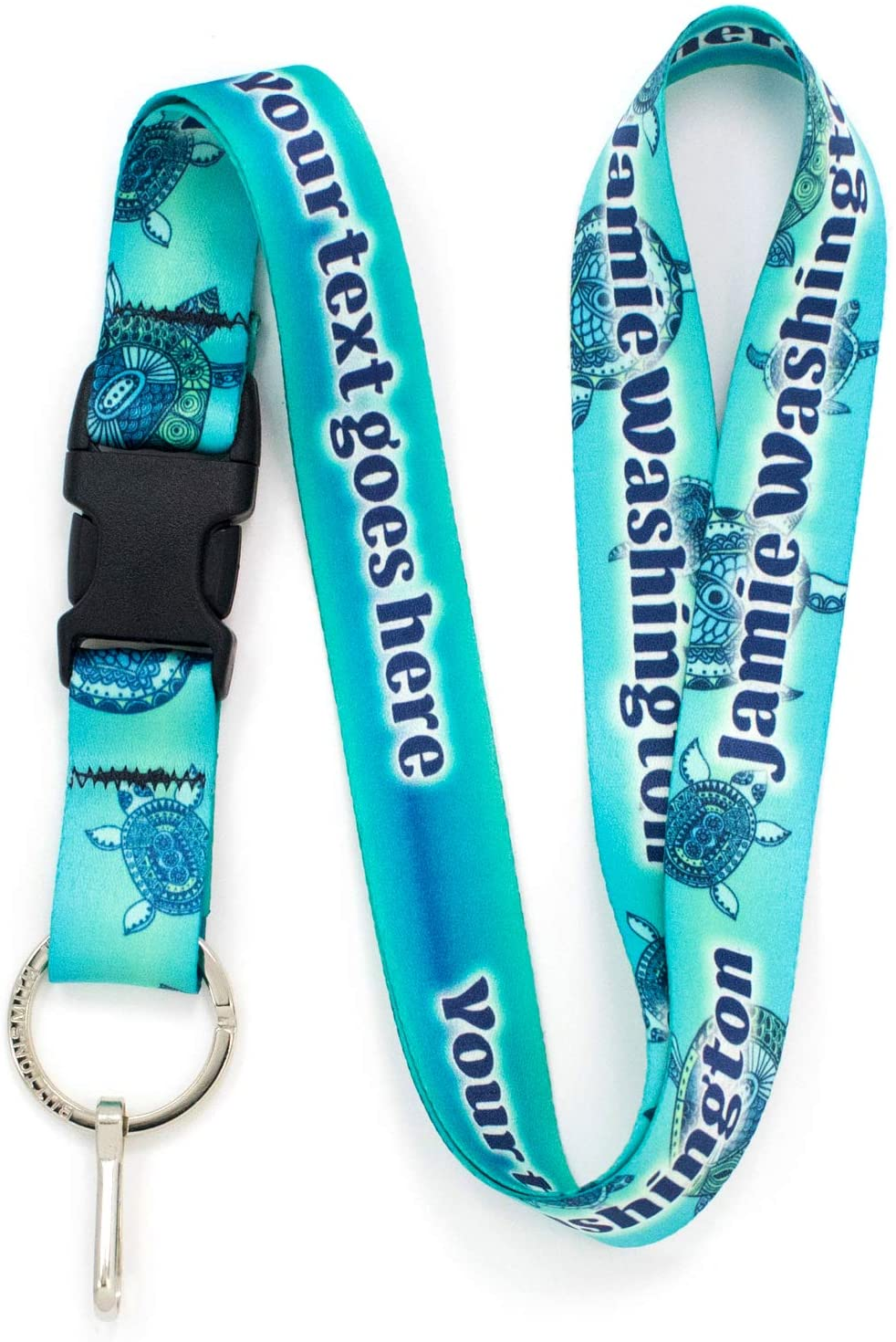 Buttonsmith Turtles Custom Lanyard - Customize with Your Text - Buckle and Flat Ring - Made in The USA