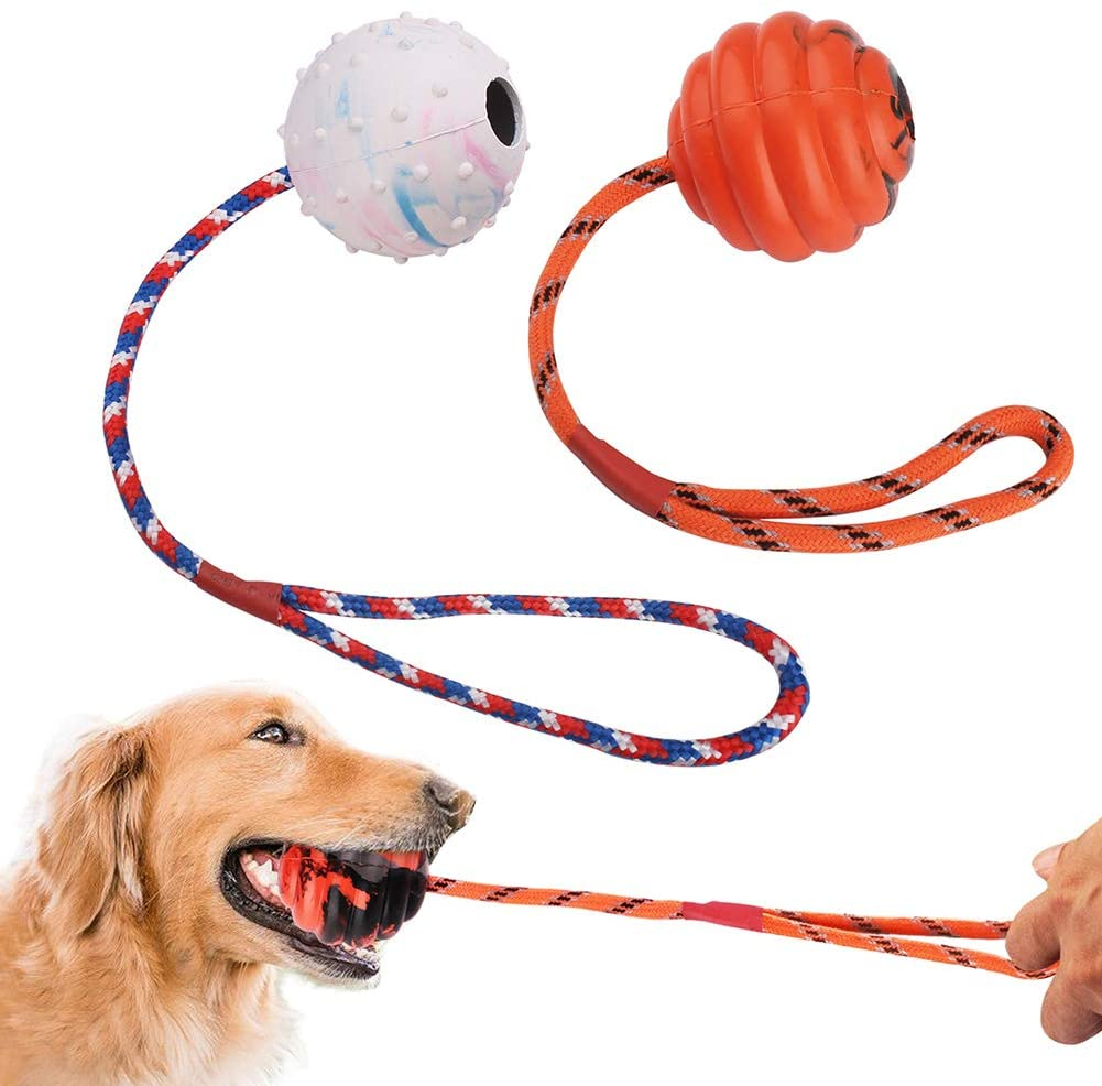 PrimePets 2 Pcs Dog Training Ball on Rope, Solid Rubber Rope Ball for Dog Training, Tug Ball Toy for Medium and Small Dog, Tough Rope Toy,Non-Toxic and Durable Dog Toys