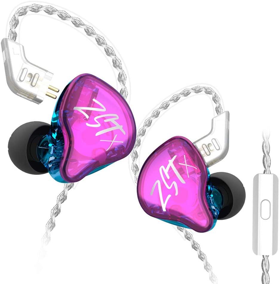 KZ ZSTX in Ear Headphone, KINBOOFI 1BA 1DD HiFi Earphone with Hybrid Driver High Fidelity Sound IEM Headset with Detachable Cable (with Microphone, Purple)