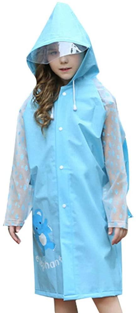 IMIKEYA Children Rain Poncho Waterproof Kids Rain Coat with Hood Rain Brim Hat Backpack Cover Rainwear Anti Saliva Anti-Spit Anti Splash Safety Coveralls for Outdoor Travel Size XL