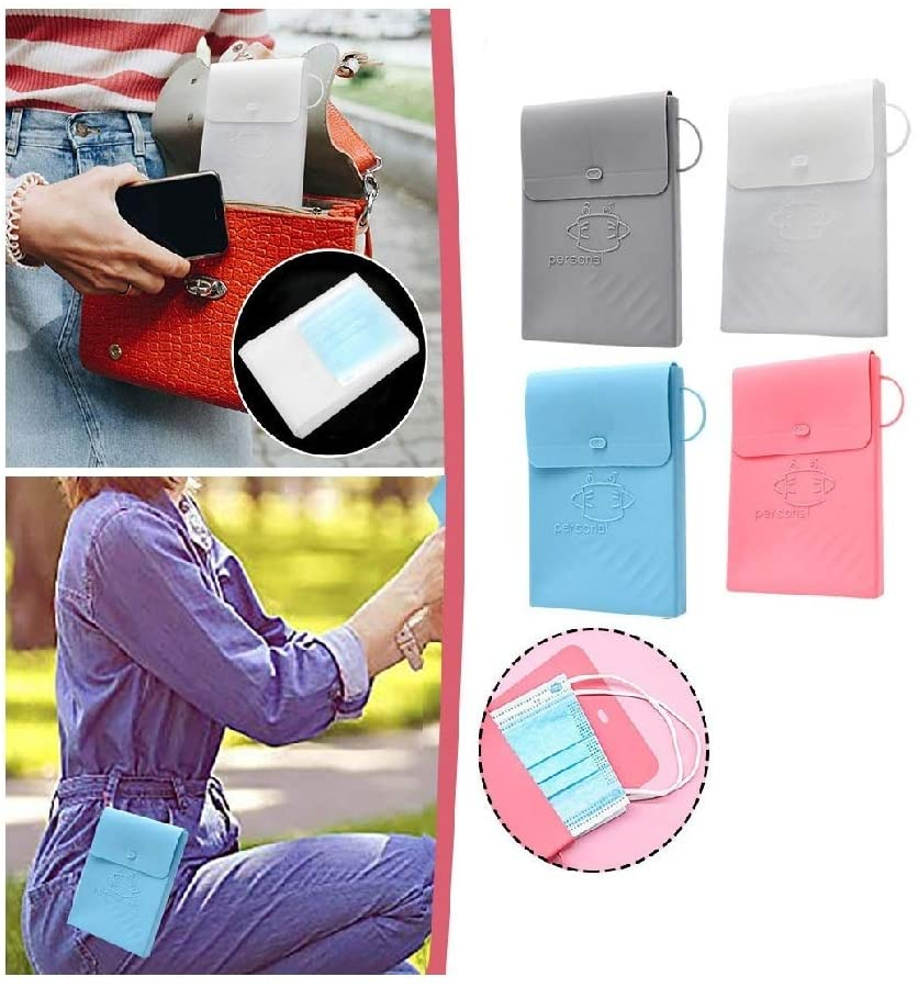 Autumnfall 4pc Cycling Face Šhīəlds Carry-on Storage Box, Washable Face Bib Storage Folder Silicone Clip, Scarf Facials Keeper Storage Clip, Foldable Organizer Easy To Carry & Clean