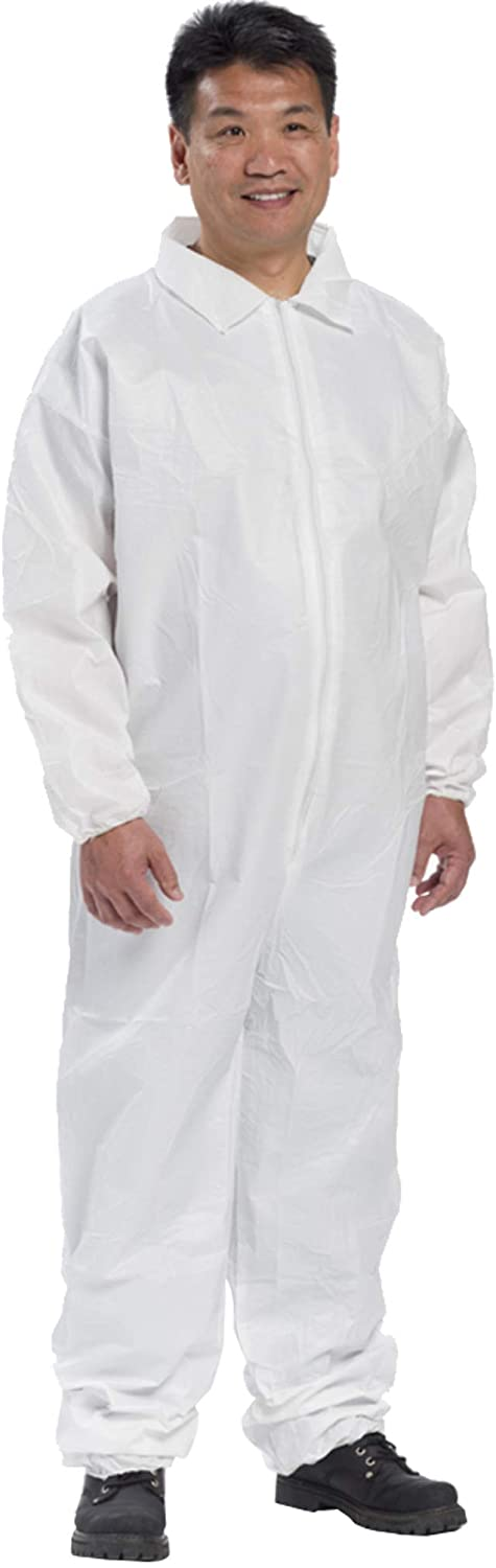 AMZ Basic Protection Overall. Pack of 25 White Adult Disposable Garment 3X-Large. Polypropylene Apparel with zipper front entry, elastic wrists and open cut ankles. Unisex Workwear