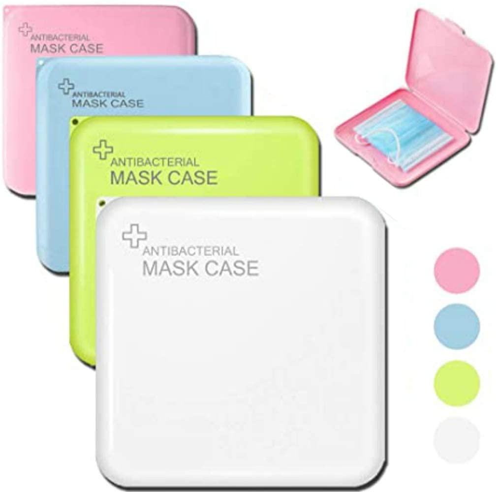 TimNas Portable M-sk Storage Bag M-sk Case Blue/Pink/Green/White M-sk Box M-SKS Organizer for Recyclable Dust M-sk Storage Box for M-sk (Not Including Mask)4 PCS