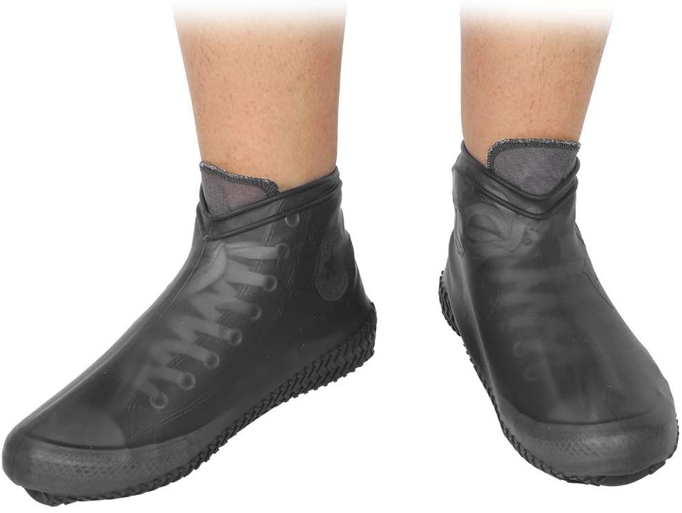Wandisy Shoe Boots Covers, Waterproof Reusable Rain Shoe Overshoes Accessory(Black)