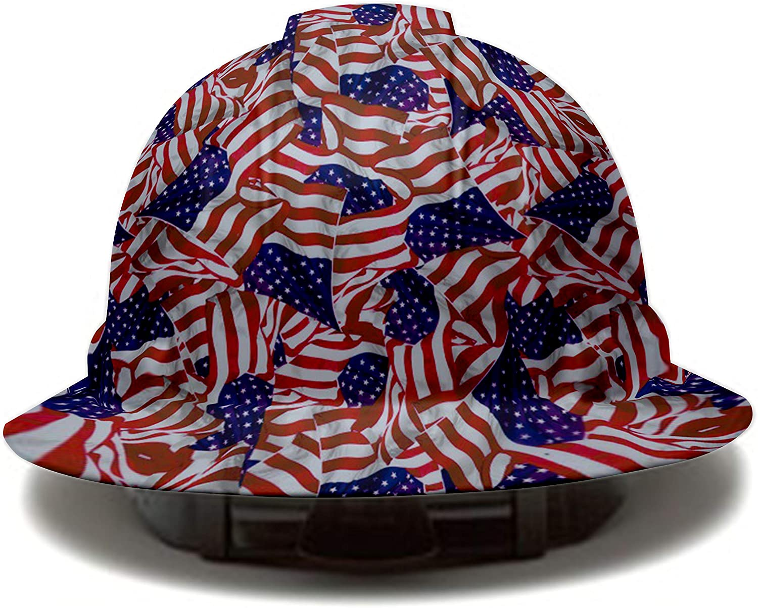 United States Flag Pyramex Full Brim Hard Hat, 4 Point Suspension, by Acerpal