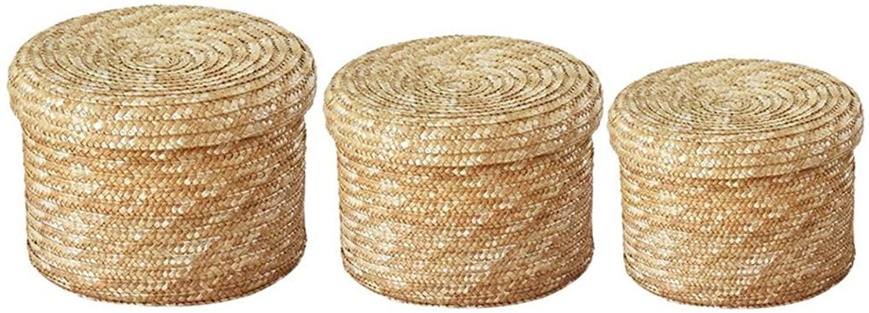 lolyspn 3 Pcs/Set Handmade Straw Woven Storage Basket with Lid Snack Organizer Storage Box Laundry Baskets Rattan Storage Flower Baske