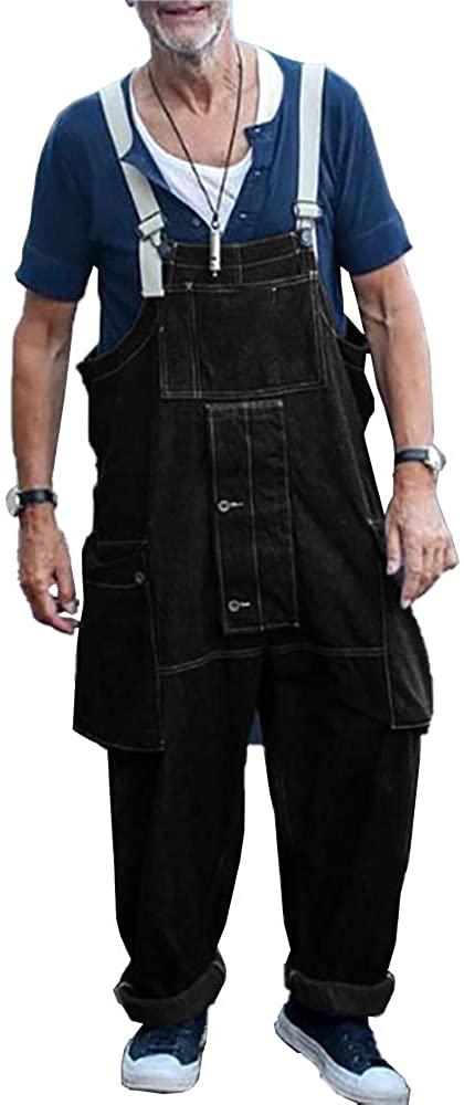 Danedvi Men's Jumpsuits Wide Leg Pants Bib Suspenders Rompers Overalls Jeans