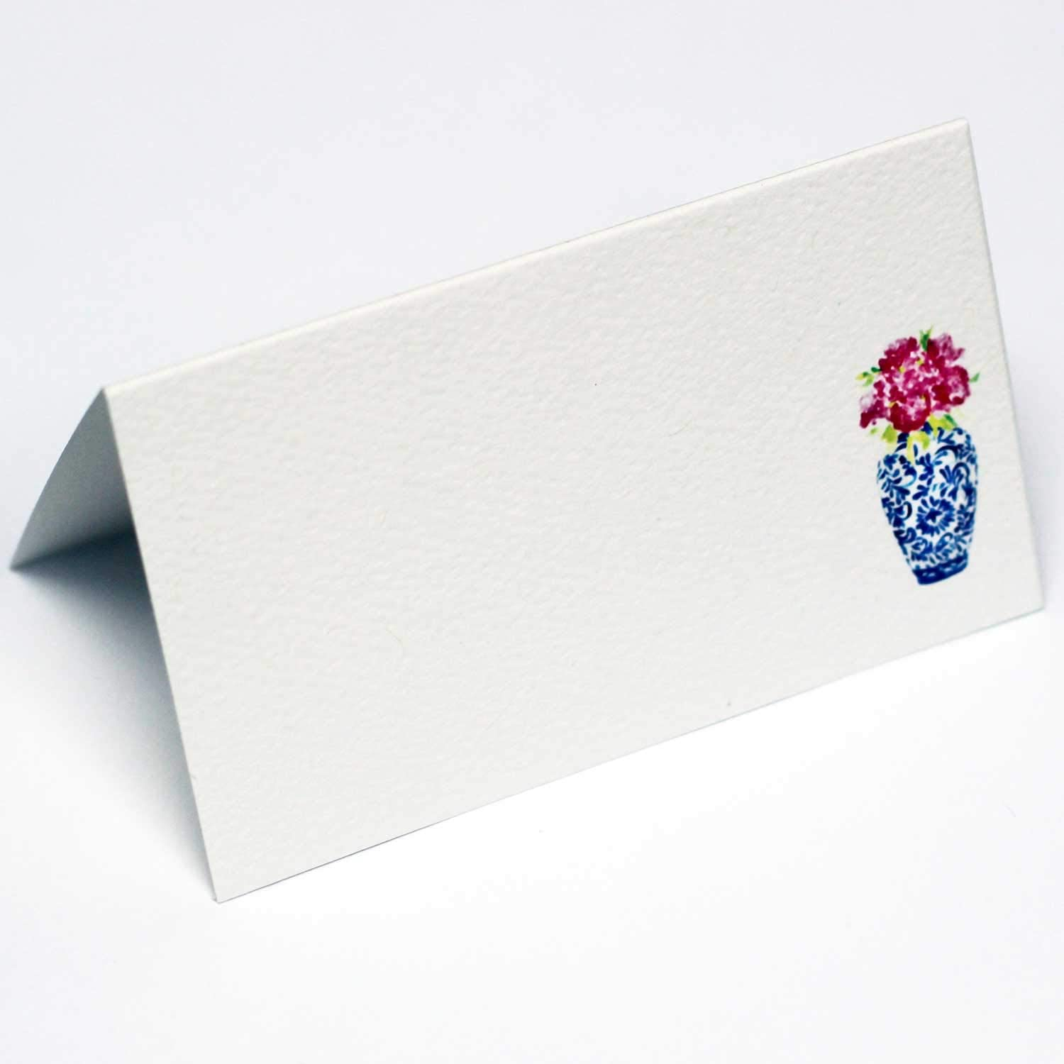 Nancy Nikko Place Cards with Blue and White Ginger Jar with Pink Flowers for Weddings, Showers, and Dinner Parties. Table Tent Style, Scored for Easy Folding. Available in Pkgs of 12/25 / 50 (12)