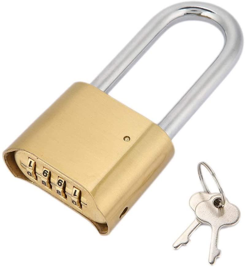 Password Lock, Sturdy Brass 4 Digit Combination Digit Padlock Password Lock for Door Case Warehouse Cupboard Long Beam