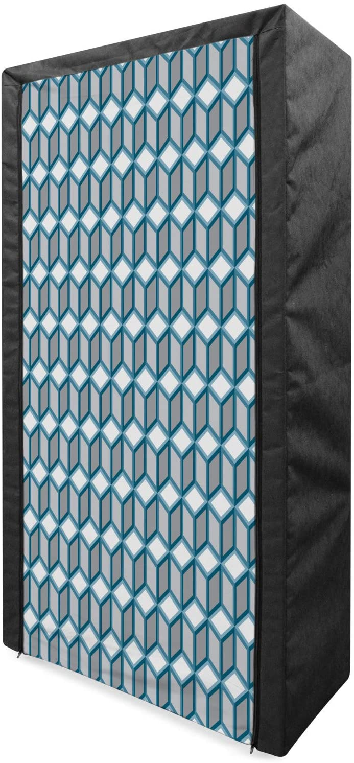 Lunarable Geometric Portable Fabric Wardrobe, Fractal Style Cubes Dimensional Diamond Unusual Grid Pattern, Clothing Organizer and Storage Closet with Shelves, 33.5