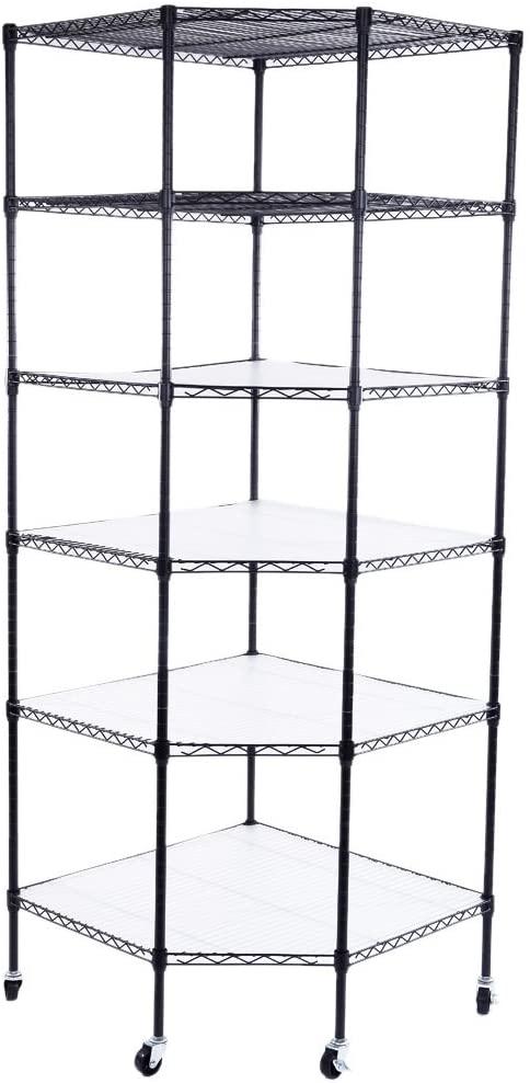 Azadx 6 Tiers Corner Shelf, Adjustable Metal Storage Wire Shelving Unit Corner Rack Corner Shelving, Free Standing Corner Storage Rack Display with Wheels for Living Room, Bathroom, Kitchen (Black)