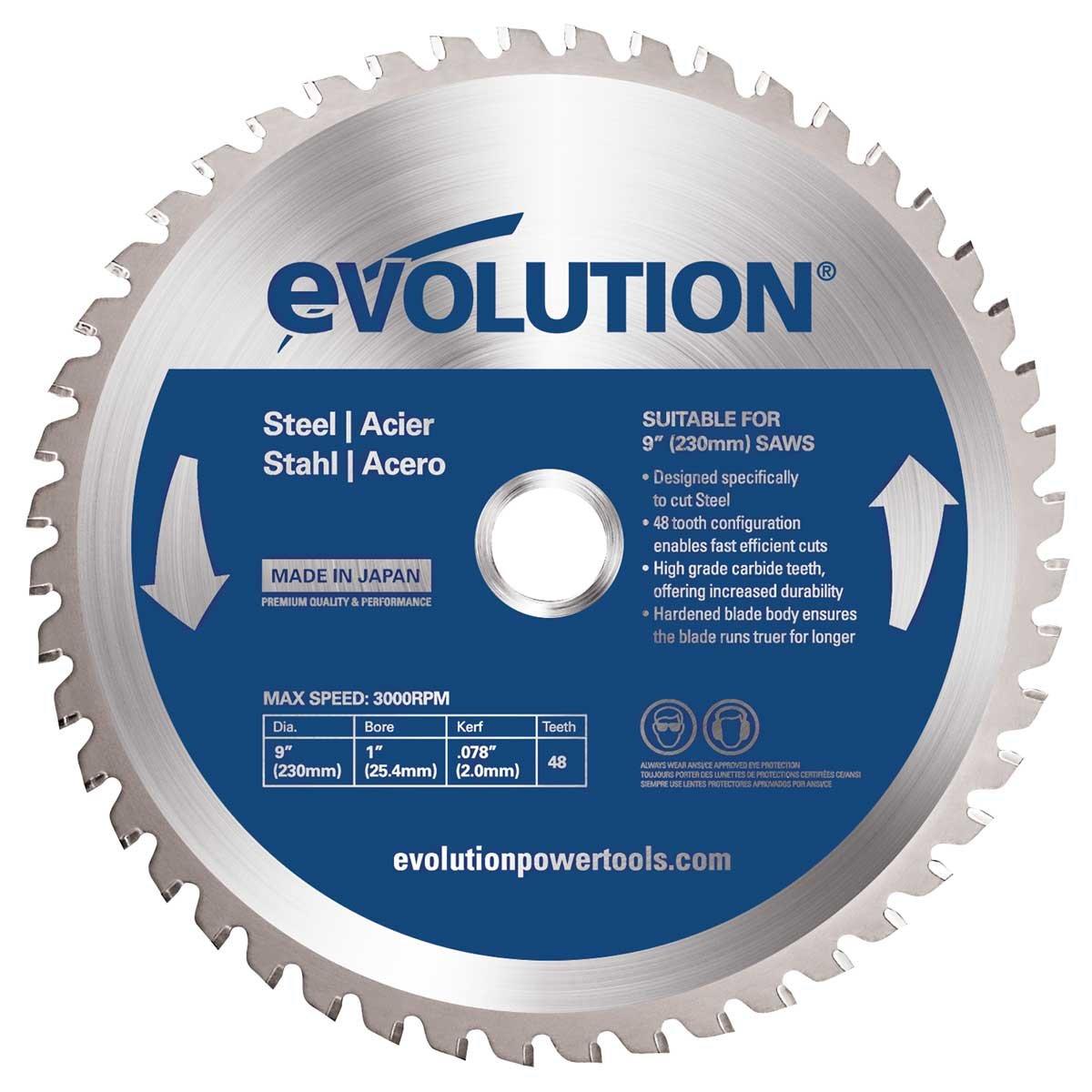 Evolution 230BLADEST Circular Saw Blade for Mild Steel, 9