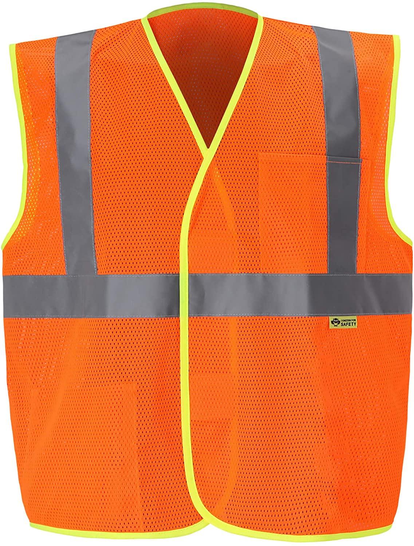 Mesh Economy Safety Vest - Ansi Class 2 - High Visibility (4XL, Orange, 1 Piece)