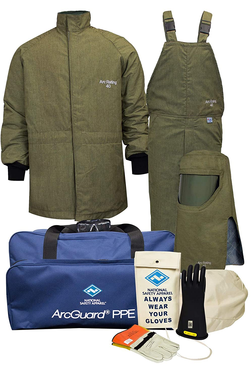 National Safety Apparel KIT4SCLT403X09 ArcGuard RevoLite CAT 4 Arc Flash Kit with FR Short Coat and Bib Overall, 40 Calorie, 3X-Large/Glove Size 9, Olive Green