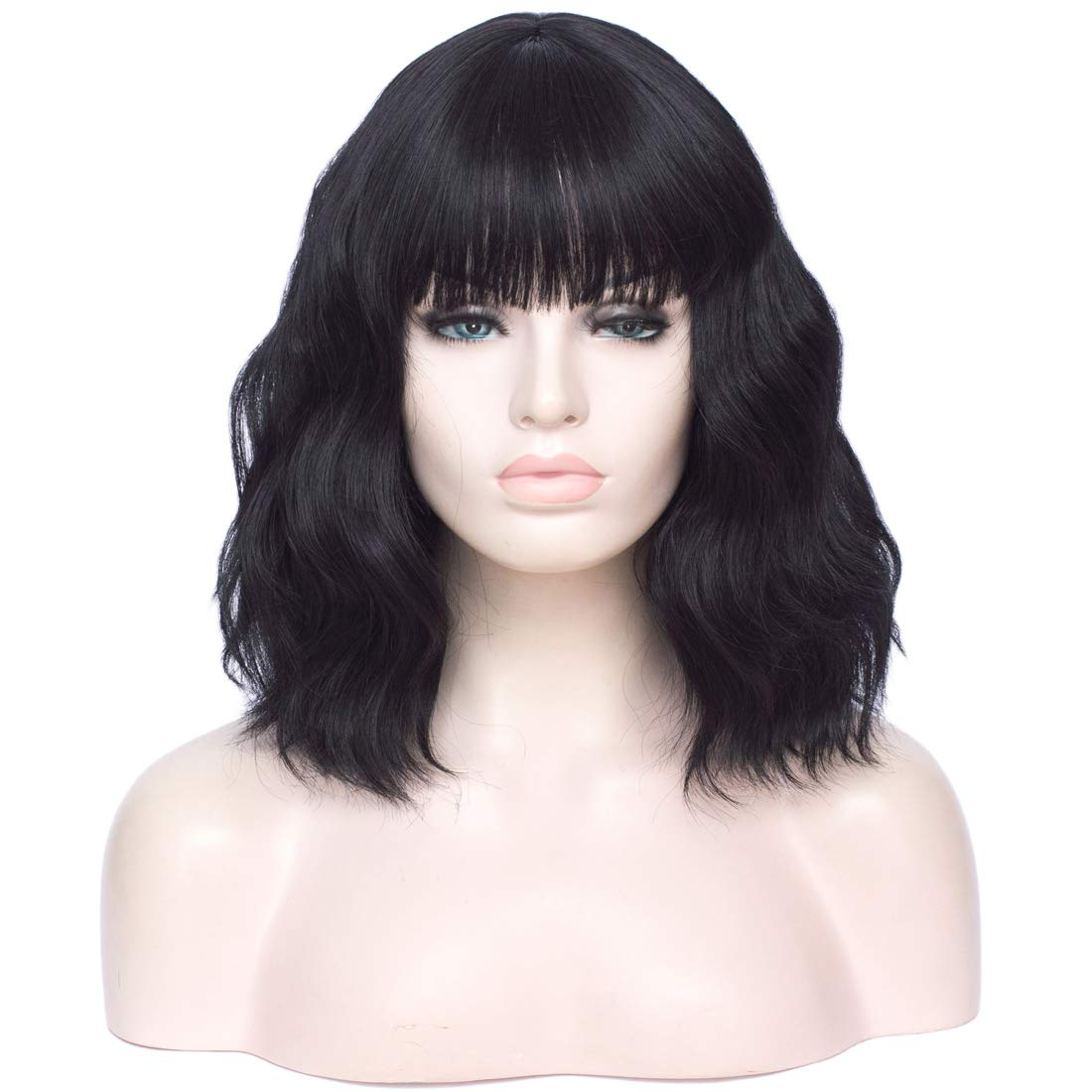 Short Bob Wigs with Bangs Curly Natural Wavy Short Wig Synthetic Cosplay Wig Heat Resistant Bob Party Wig Colorful Costume Wigs (14inch Black)