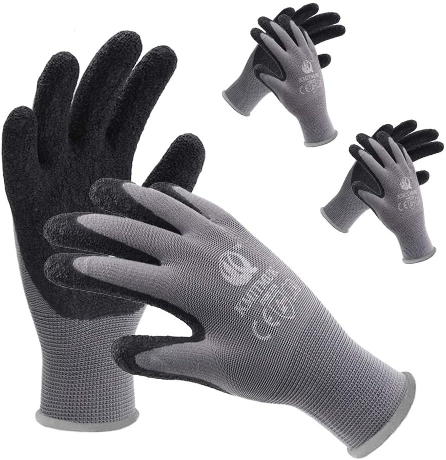 Kmitmuk 3 Pairs Safety Work Gloves Latex Textured Coated, 13-Gauge Polyester Knit, General Purpose for Gardening, Repairing and Construction (Grey/Black, XX-Large)
