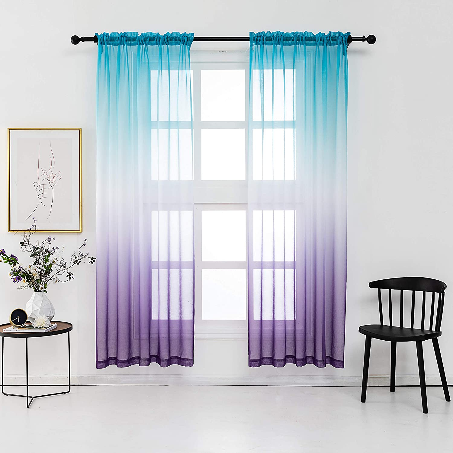 Lilac Turquoise Curtains for Bedroom Girls Room Decor 2 Panels Reversible Ombre Pattern Window Semi Short Sheer Curtains for Girly Nursery Kids Beach Green Purple (52